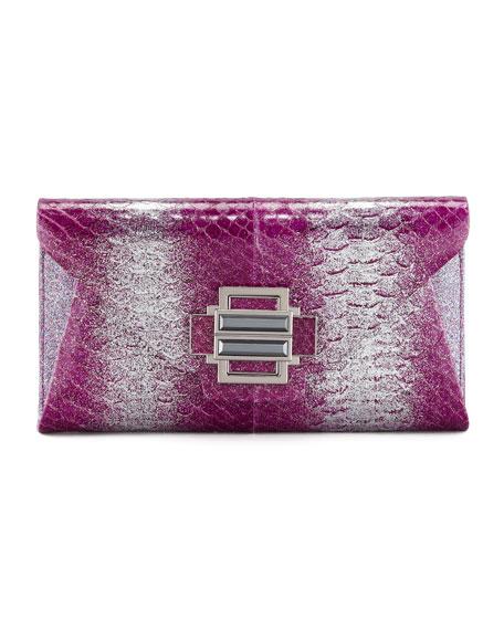 Electra Ombre Glitter Python Clutch Bag, Magenta