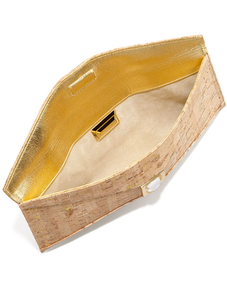 Prunella Small Cork Clutch Bag, Gold Fleck