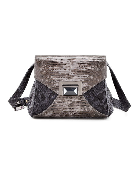 Itty Bitty Trinity Python Lady Bag, Gray Tejus