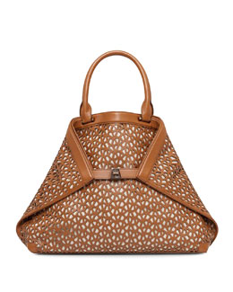Akris Al Laser-Cut Leather Medium Tote, Cuoio