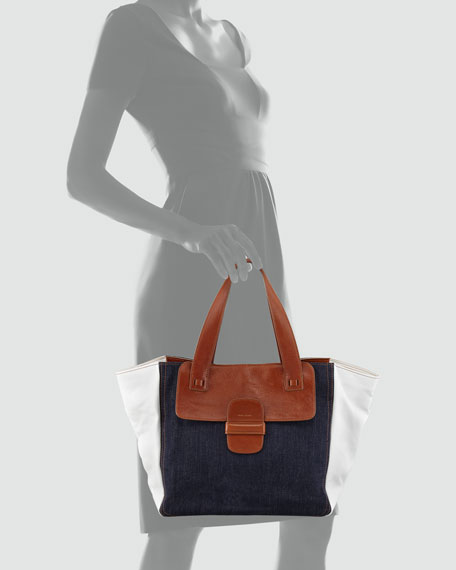 Denim-Paneled Tote Bag