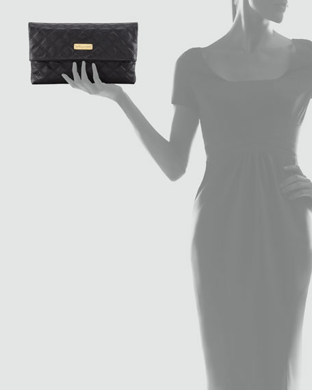Eugenia Large Clutch Bag, Black/Brass