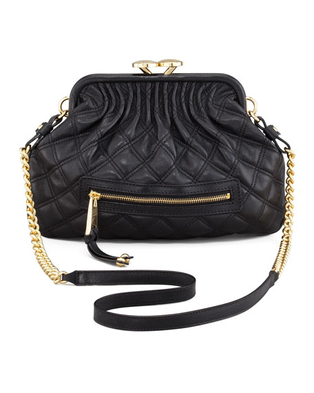 Stam Little Quilted Leather Crossbody Bag, Black