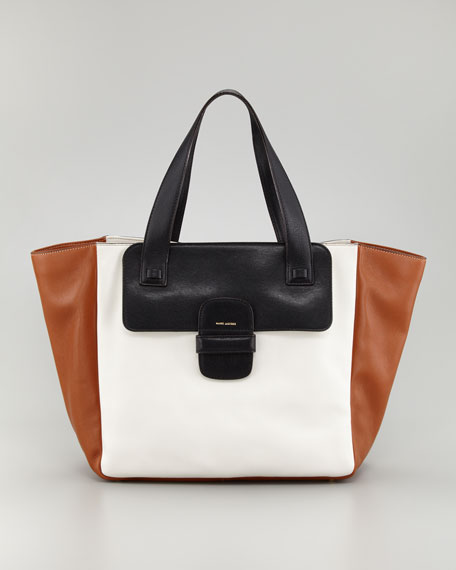 Lambskin Paneled Tote Bag, White/Black/Cognac