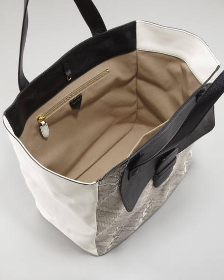 Snakeskin-Paneled Tote Bag