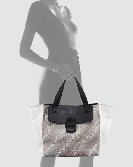 Snakeskin-Paneled Tote Bag