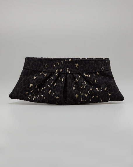 Louise Leopard-Brocade Clutch Bag