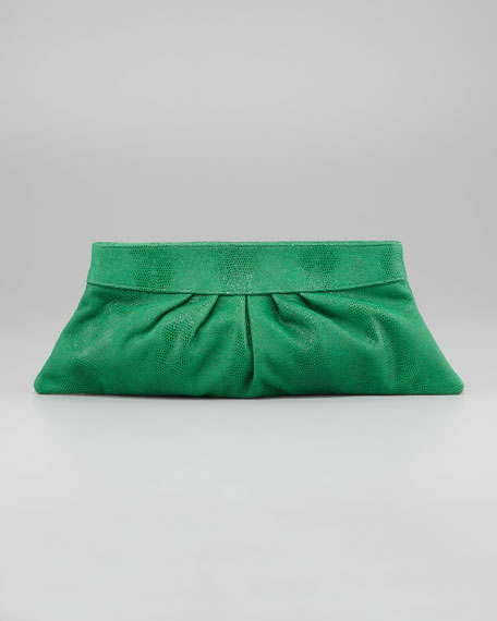 Louise Lizard-Embossed Clutch Bag, Kelly