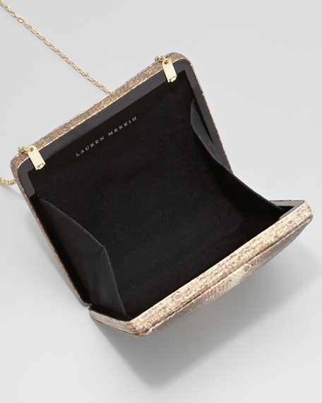 Zoe Polished Metallic Pyramid Minaudiere