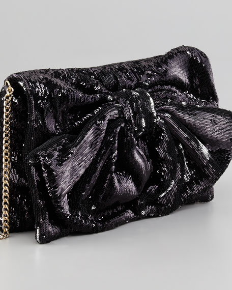 Sequined Bow Shoulder Bag, Black