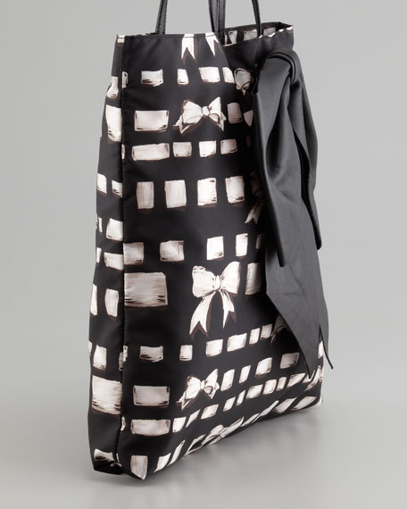 Ribbon-Print Tote Bag, Black