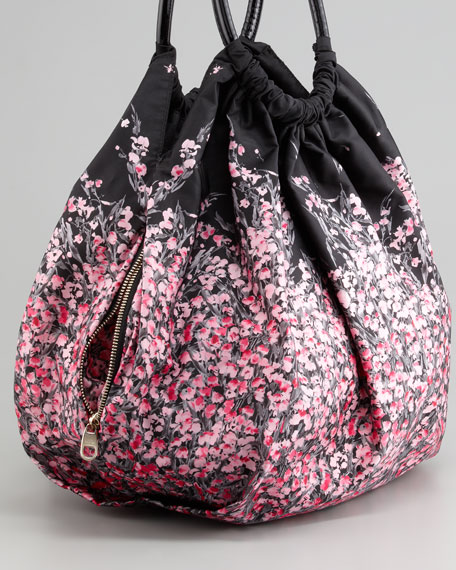 Lily of the Valley Printed Nylon Hobo Bag, Black Floral