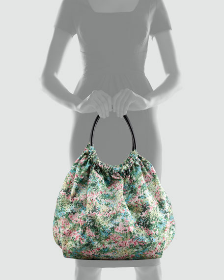 Meadow Printed Nylon Hobo Bag, Green Floral