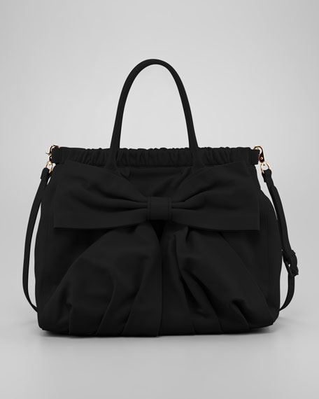 Calfskin Bow Satchel Bag, Black