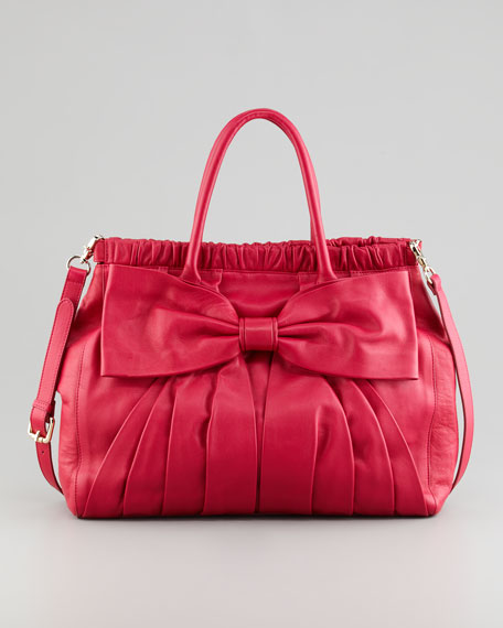 Calfskin Bow Satchel Bag, Cherry