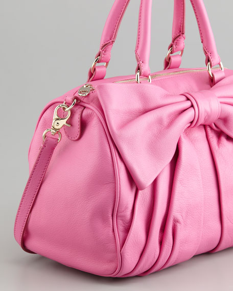 Calfskin Bow Top-Zip Satchel Bag, Bright Pink