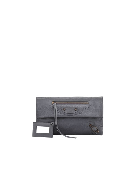 Classic Envelope Clutch Bag, Gris Tarmac