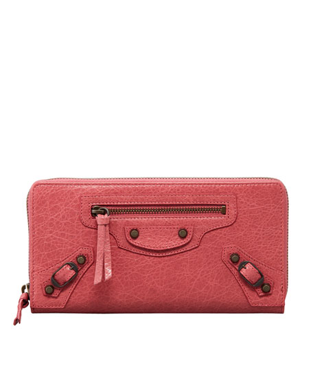Classic Continental Zip Wallet, Rose Bombon
