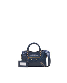 Balenciaga Giant 12 Golden Mini City Bag, Bleu Mineral