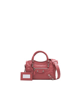 Balenciaga Giant 12 Nickel Mini City Bag, Rose Bombon