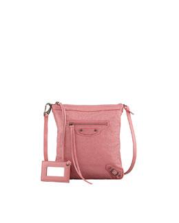 Balenciaga Classic Flat Crossbody Bag, Rose Bombon