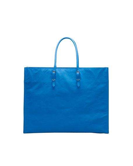 Papier A4 Leather Tote Bag, Sky Blue