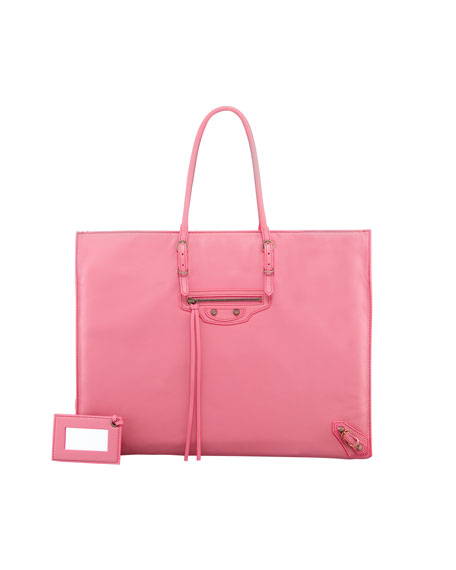 Papier A4 Leather Tote Bag, Pink