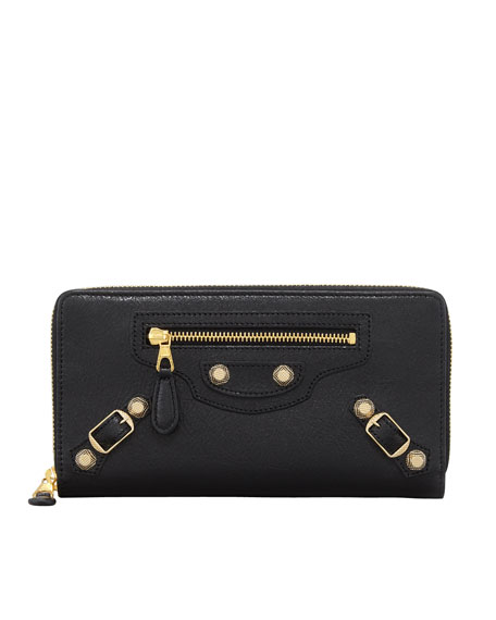 Giant 12 Golden Continental Zip Wallet, Black
