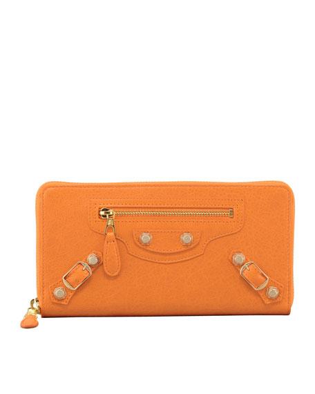 Giant 12 Golden Continental Zip Wallet, Tangerine