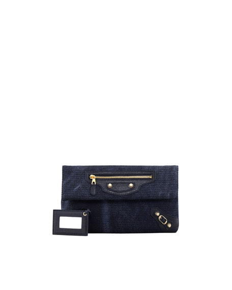Giant 12 Golden Canvas Envelope Clutch Bag, Navy