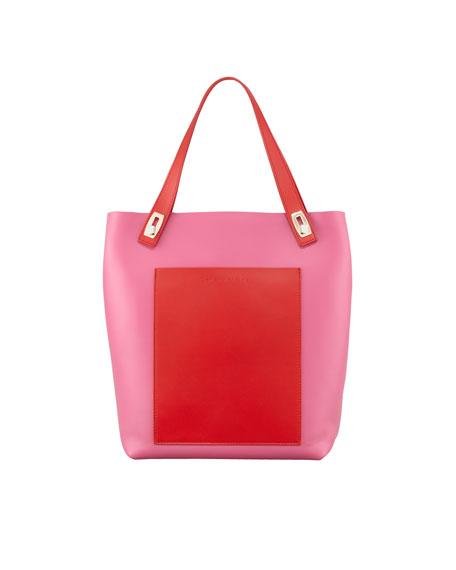 Small Pocket Tote Bag, Fuchsia/Rouge