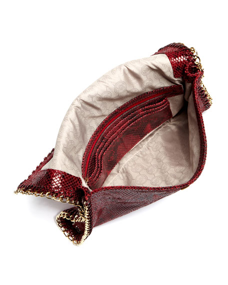 Oversize Chelsea Python-Embossed Clutch Bag
