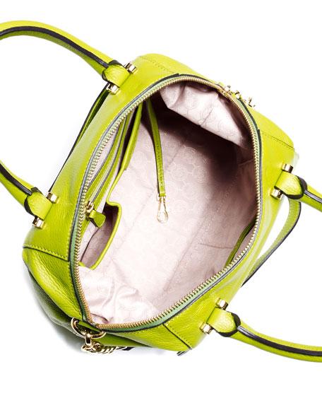 Large Fulton Pebbled Leather Satchel Bag