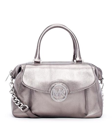 Large Fulton Metallic Pebbled Leather Satchel Bag