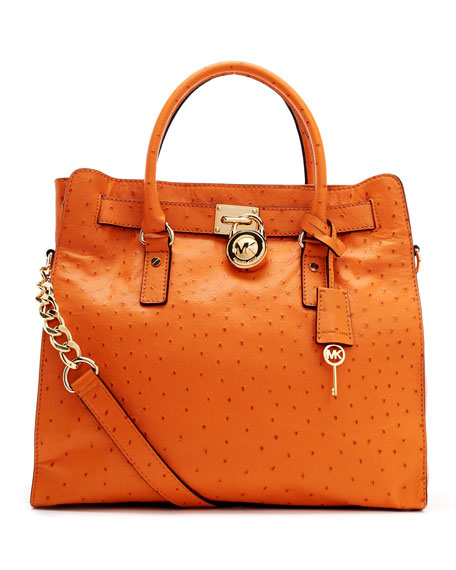 Large Hamilton Ostrich-Embossed Tote Bag