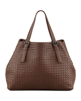 Bottega Veneta Woven Leather Large Tote Bag, Brown