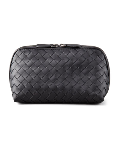 Woven Leather Medium Cosmetic Case, Black