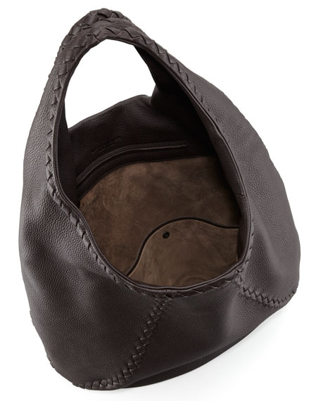 Cervo Leather Hobo Bag, Espresso