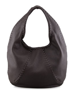 Bottega Veneta Cervo Leather Hobo Bag, Espresso