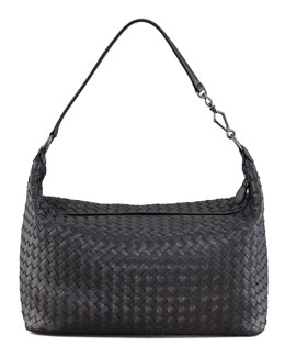 Bottega Veneta Woven Leather Medium Shoulder Bag, Black