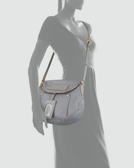 Preppy Nylon Natasha Striped Crossbody Bag, Storm Cloud
