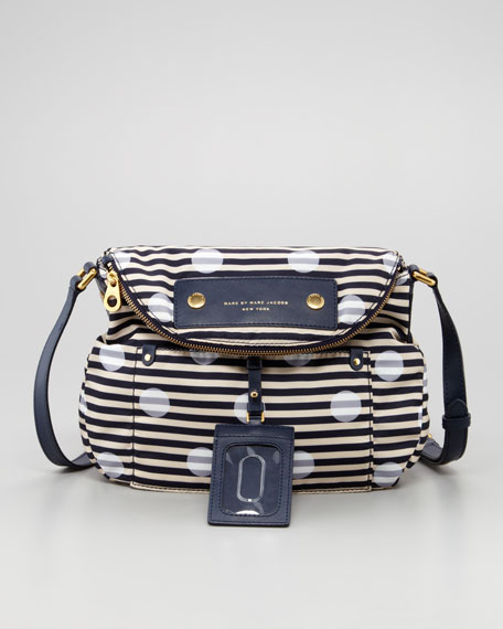 Preppy Nylon Natasha Striped Crossbody Bag, Navy/White