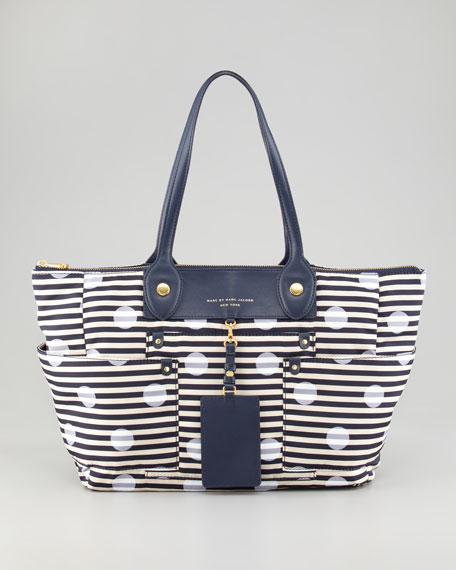 Preppy Nylon East-West Printed Tote Bag