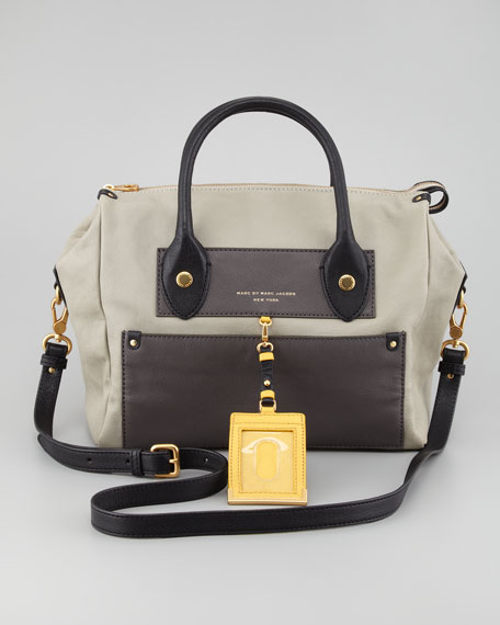 Preppy Pearl Colorblock Leather Satchel Bag, Silver Fox
