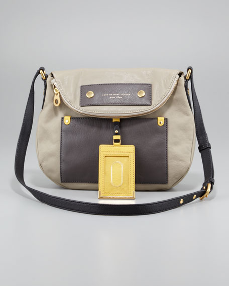 Classic Q Natasha Colorblock Crossbody Bag, Silver Fox