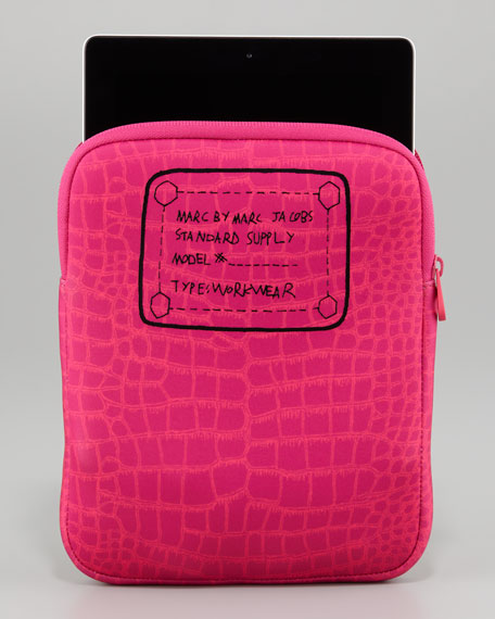 Trompe l'Oeil Croc-Print Tablet Sleeve, Sparkling Grape