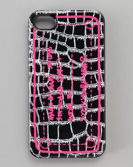 Trompe Croc-Print iPhone 4 Case, Black