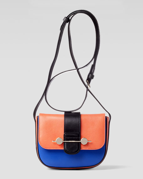 Daphne Mini Colorblock Crossbody Bag, Orange/Blue