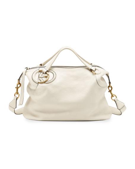 Twill Leather Large Shoulder Bag, White