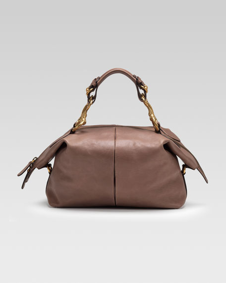 Soft Icon Leather Top Handle Bag, Pink-Tan